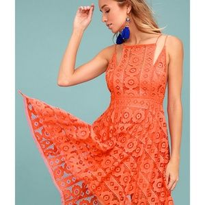 Free People Just Like Honey Coral Dress SZ 6